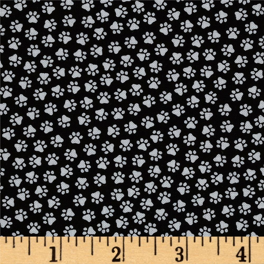 Timeless Treasures Paw Prints Black