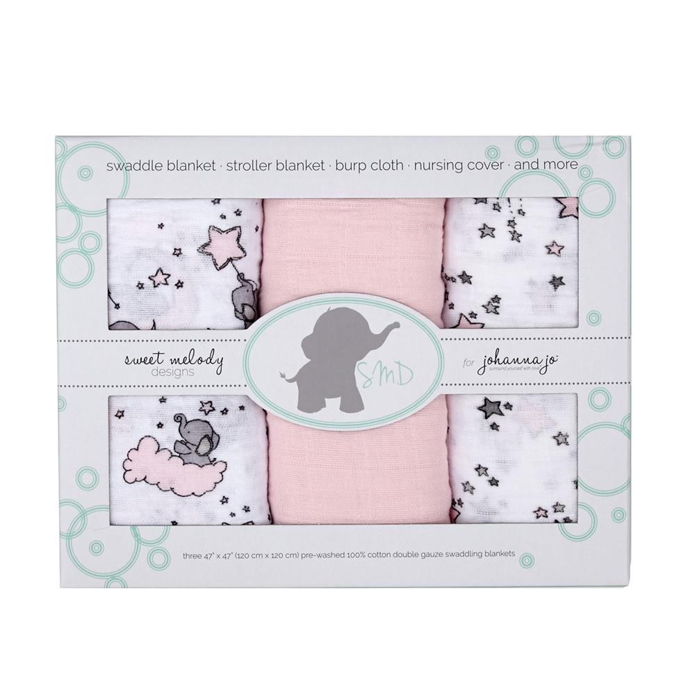 Embrace Double Gauze Swaddle 3 Pack Pink Stars