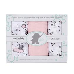 Shannon Embrace Double Gauze Swaddle 3 Pack Pink Stars