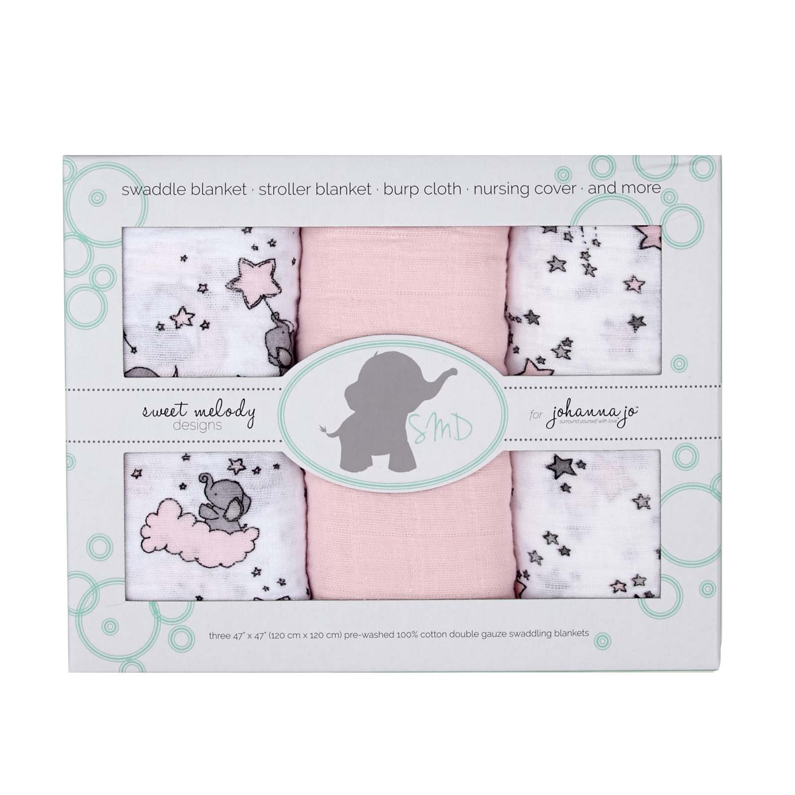 Embrace Double Gauze Swaddle 3 Pack Pink Stars by Shannon in USA