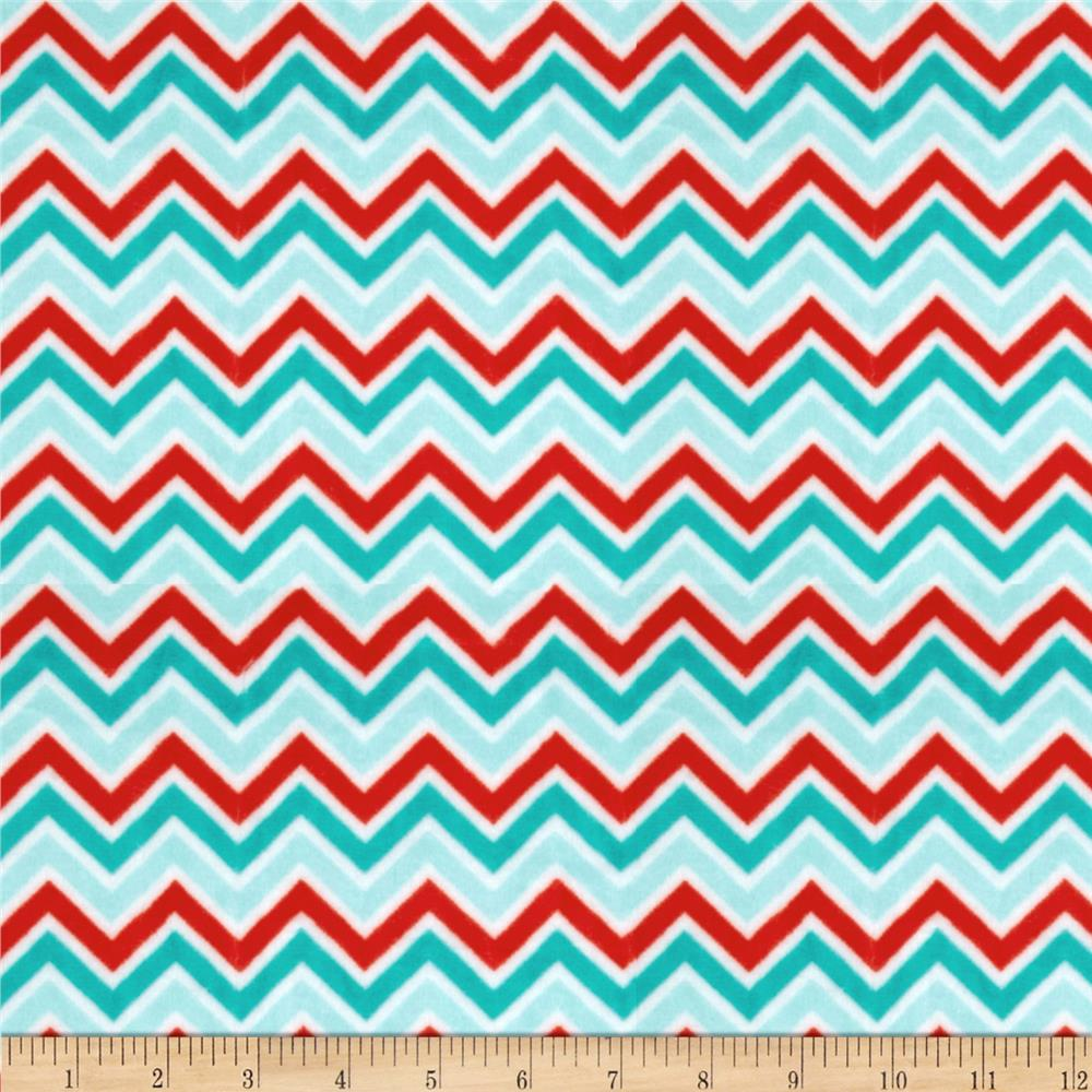 Shannon Minky Cuddle Classic Mini Zig Zag Aqua/Red/Breeze ...