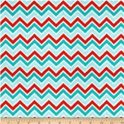 Minky Cuddle Classic Mini Zig Zag Aqua/Red/Breeze Fabric