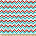 Minky Cuddle Classic Mini Zig Zag Aqua/Red/Breeze