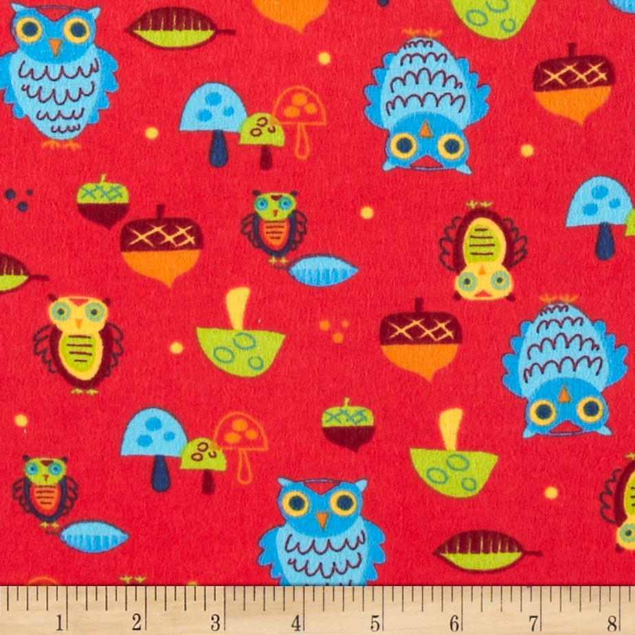 Flannel Prints Owls Red