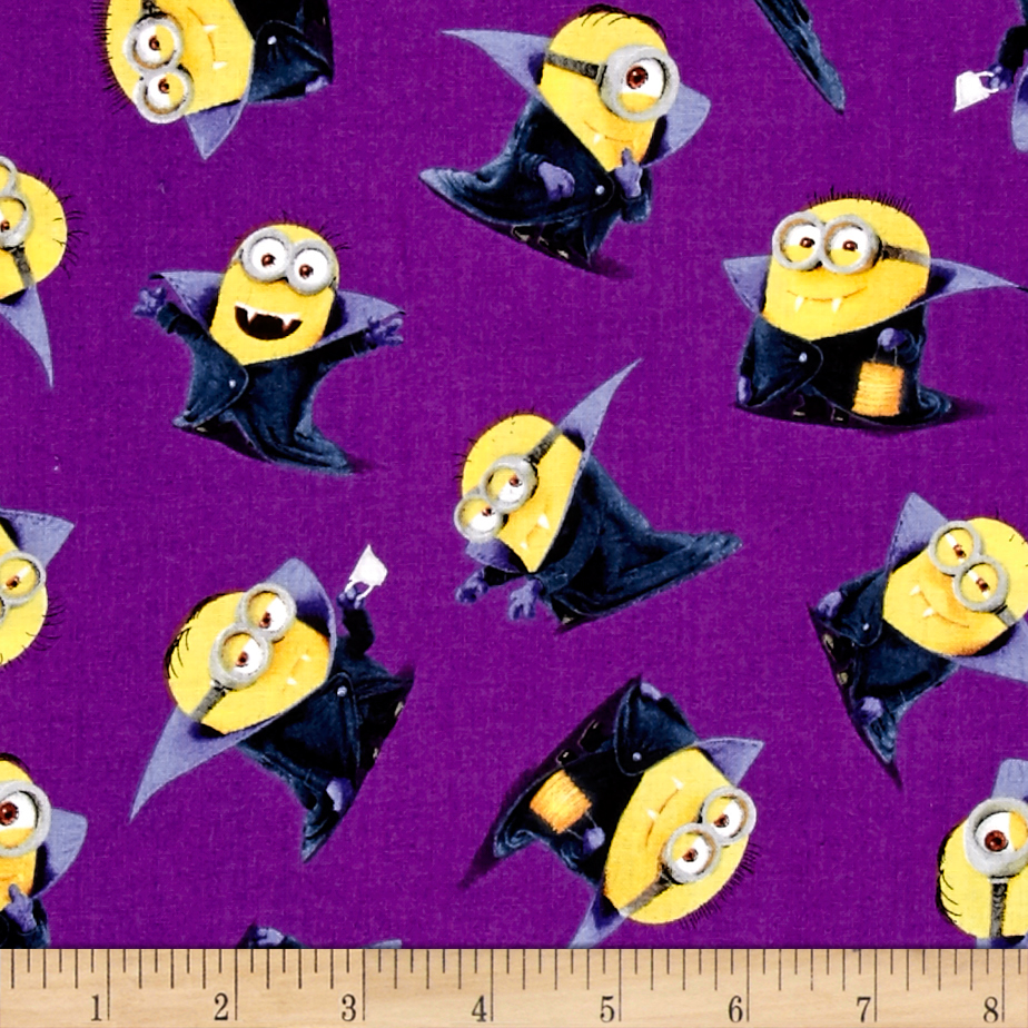 Bite Me Count Minions Purple Fabric by Quilting Treasures in USA