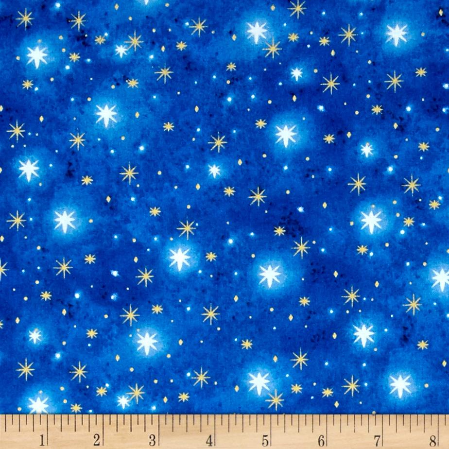 Holy gathering metallic north star blender blue discount for Star design fabric