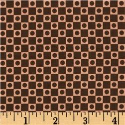 City Girl Squared Bolts Chocolate/Coral Fabric