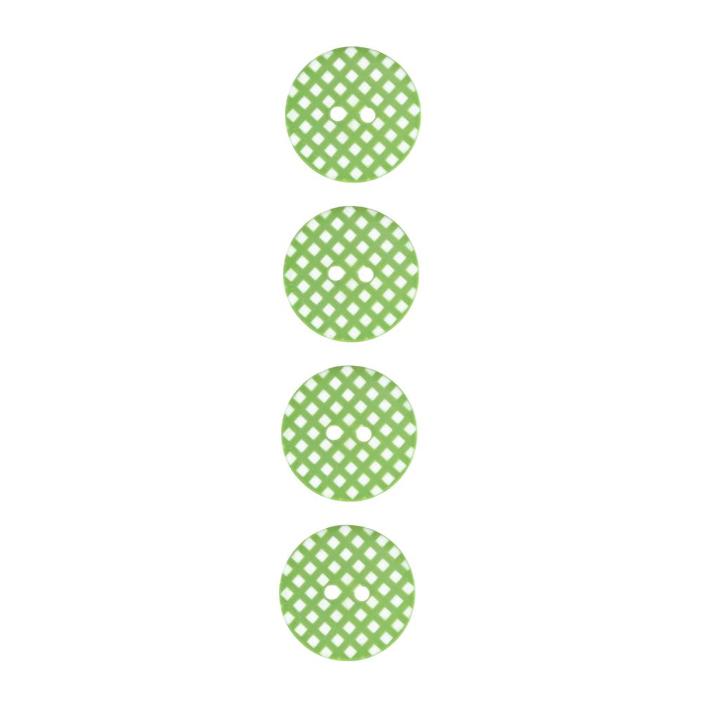 "Riley Blake Sew Together 1"" Gingham Button Lime"