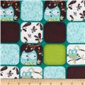 Whoo's Cute Flannel Squares Teal Blue