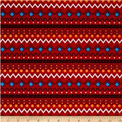 It's a Kid's World Border Stripe Red Fabric