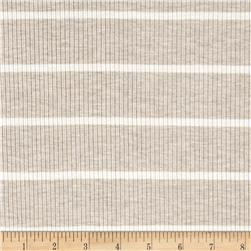 4X2 Rib Knit Stripe Oatmeal/Ivory