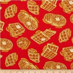 Kanvas Breakfast Club Waffles Red Fabric