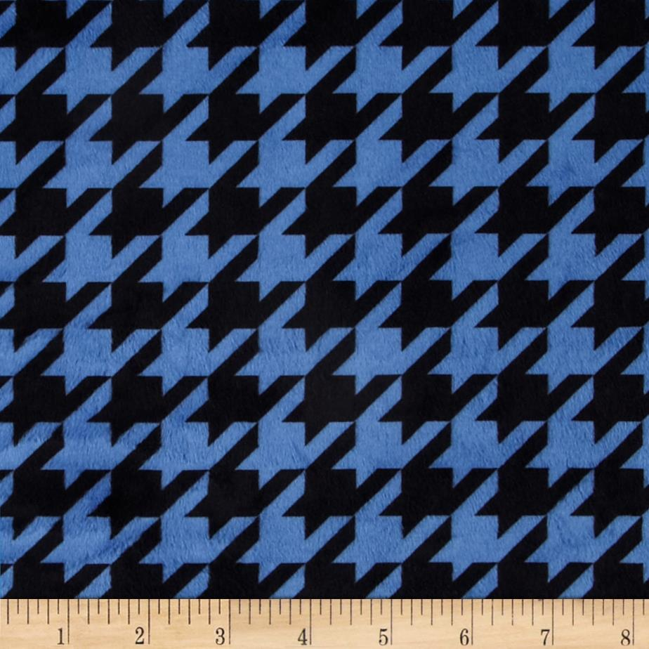 Minky Houndstooth Royal Blue/Black