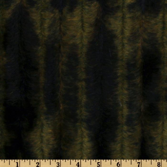 Faux Fur Embossed Stripes Dark Green