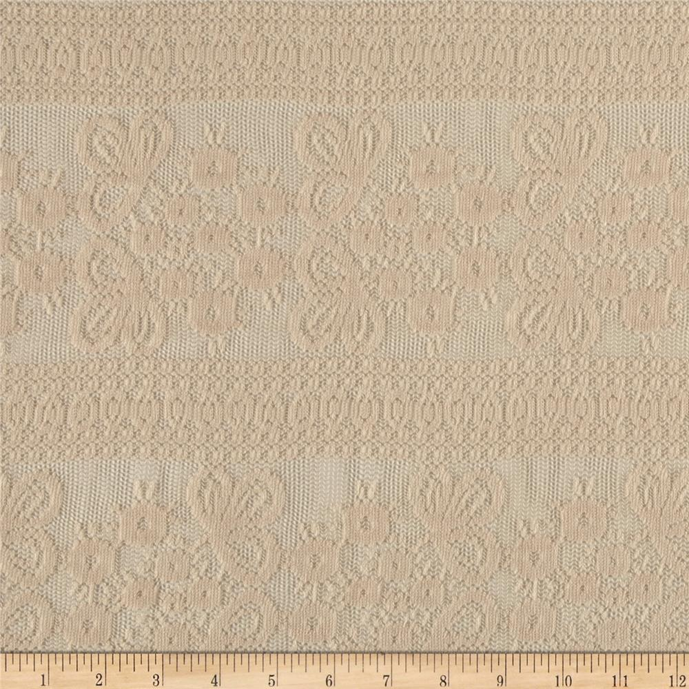 Crochet Lace Beige Fabric By The Yard