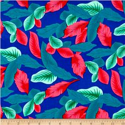 Rayon Challis Dreamer Tropical Leaf Royal