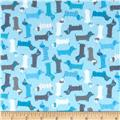 Kaufman Urban Zoologie Minis Flannel Little Weenie Dogs Blue