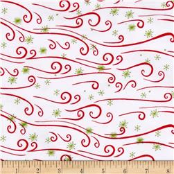 Snow Buddies Flannel Starry Swirls White