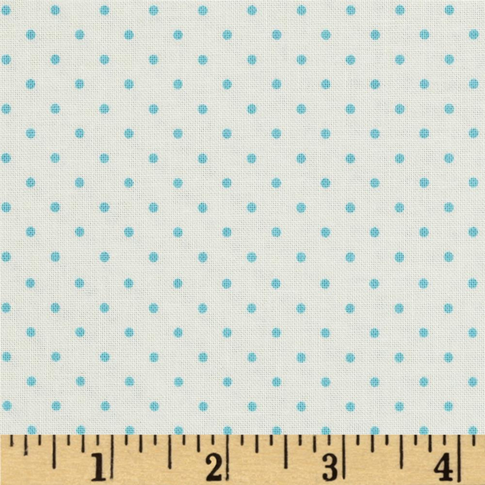 Riley Blake La Creme Basics Swiss Dots Cream/Aqua