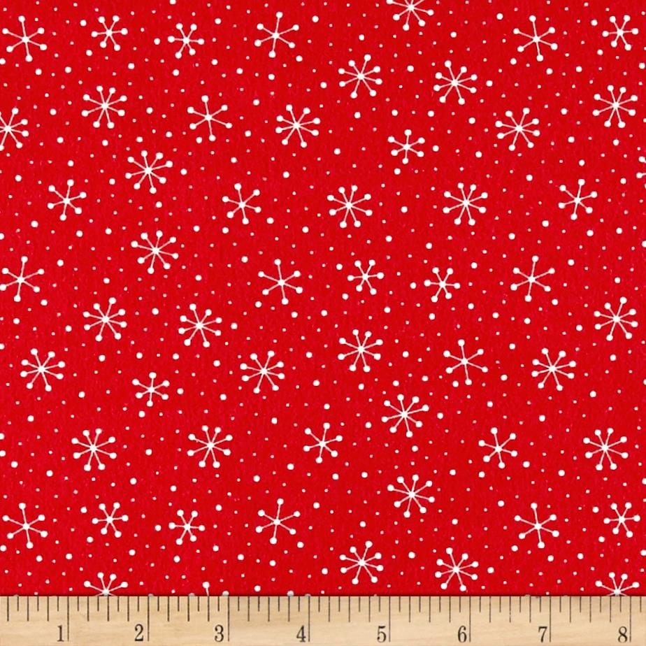 Moda Red Dot Green Dash Brushed Cottons Snowflakes Dots Poinsettia Red Fabric
