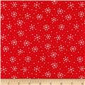 Moda Red Dot Green Dash Brushed Cottons Snowflakes Dots Poinsettia Red