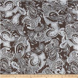 Embellished Stretch ITY Jersey Knit Paisley Dark Brown