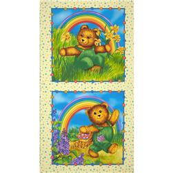 Corduroy Bear Rainbow Panel Yellow