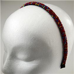 1/2'' Seed Bead Headband Red/Multi