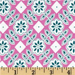 Downtown Floral Diamond Pink Fabric