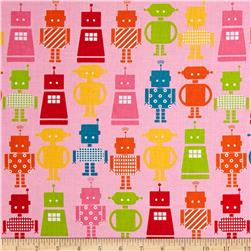 Funbots Large Robots Pink Fabric
