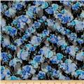 Printed Lace Floral Black/Blue