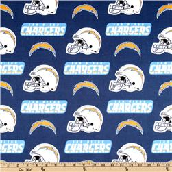 NFL Cotton Broadcloth San Diego Chargers Blue/White/Yellow Fabric