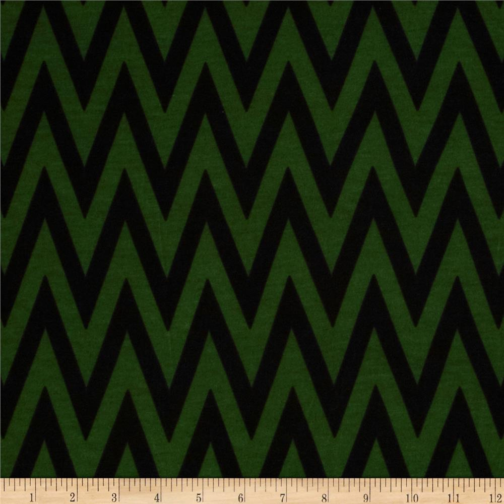 Fashionista Jersey Knit Chevron Green/Black