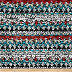 Jersey Knit Aztec Diamond Chevron Black White