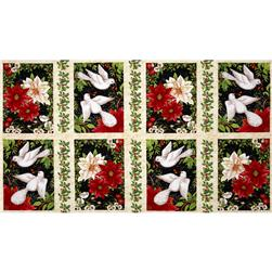 A Peaceful Season Christmas Squares Panel Cream/Multi