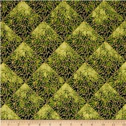 Kaufman Shades of the Season Metallic Grid Green