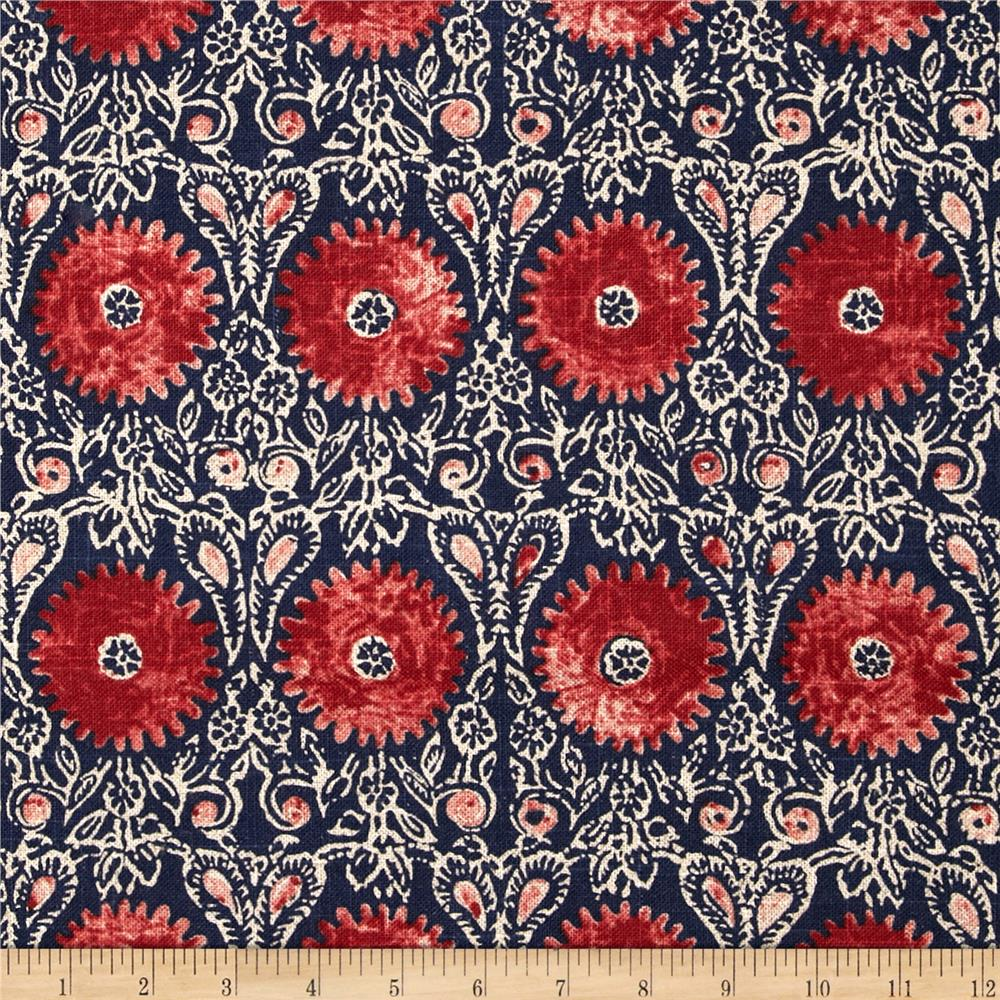 Zoom Duralee Home Riya Red Blue