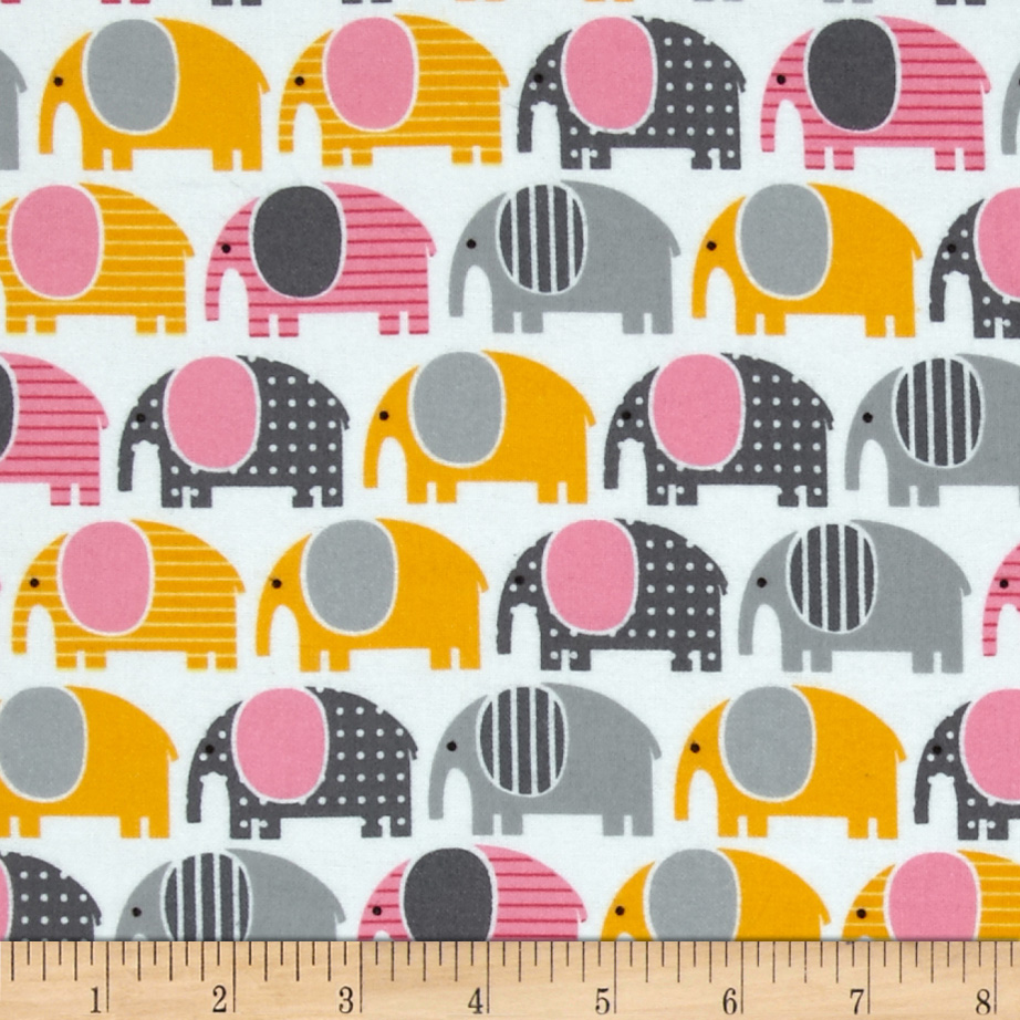 Urban Zoologie Flannel Elephants Grey Fabric