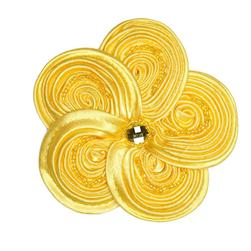 Victoria 3-1/2'' Silky Ribbon Brooch Yellow