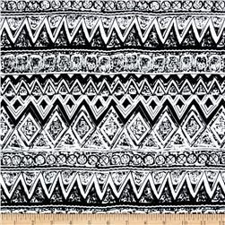 Rayon Challis Abstract Zig Zag Black/White