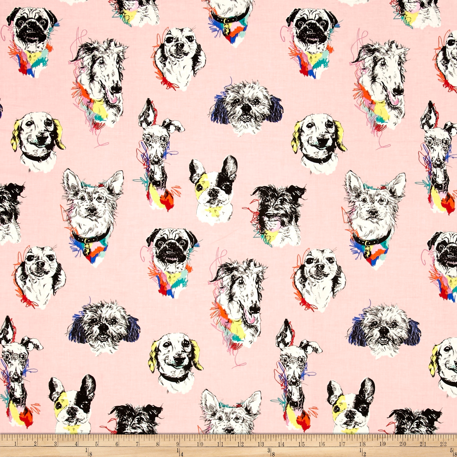 Bow Wow Wow Dog Portaits Pink Fabric