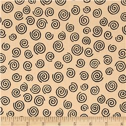 "110"" Wide Quilt Backing Swirl Beige/Black"
