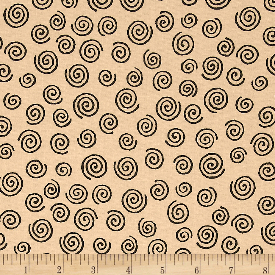 110'' Wide Quilt Backing Swirl Beige/Black Fabric