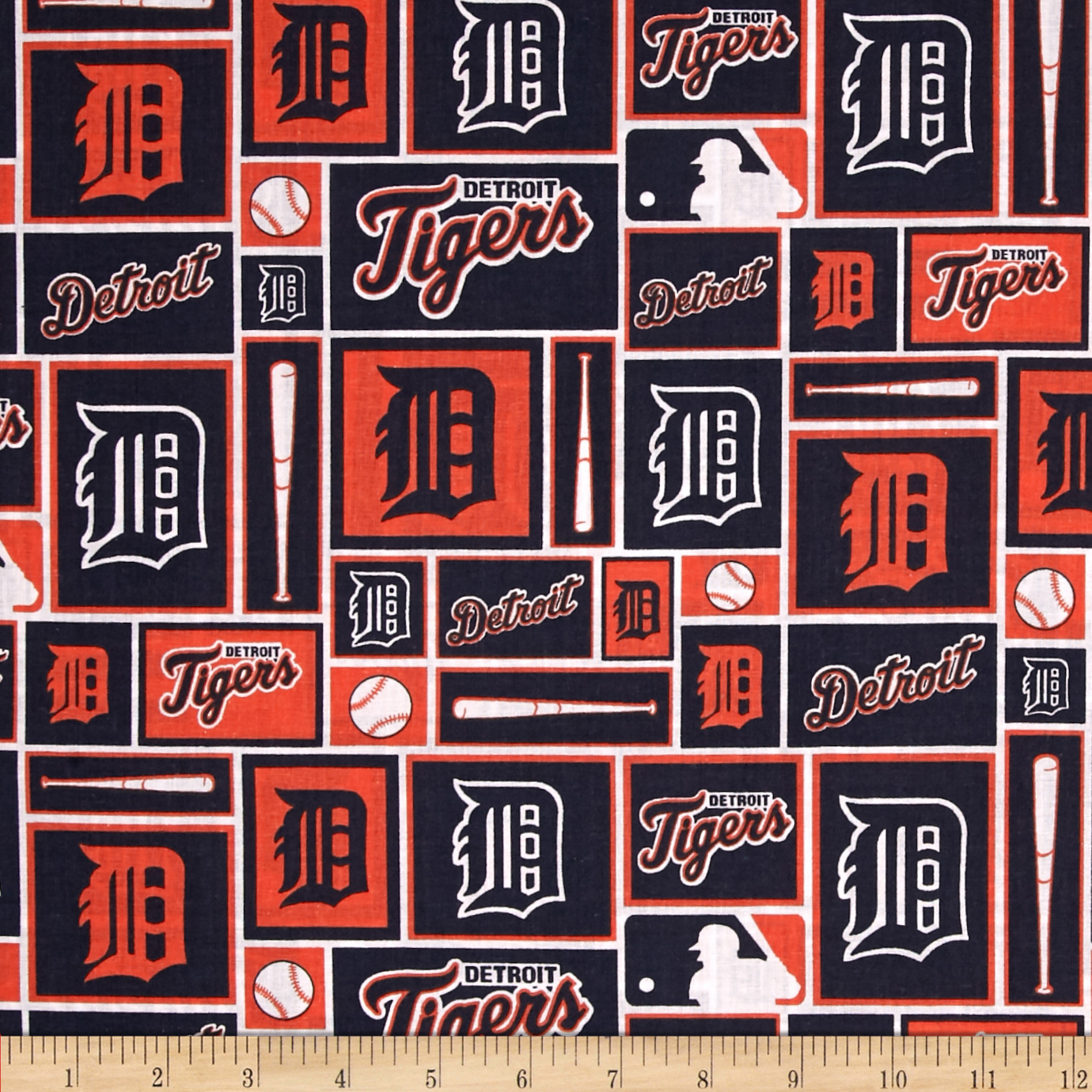 MLB Cotton Broadcloth Detroit Tigers Navy/Orange Fabric by Fabric Traditions in USA