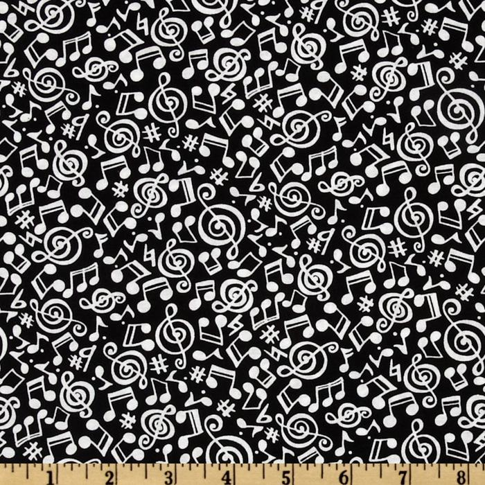 Timeless Treasures Music Notes Black/White