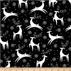 Retro Christmas Reindeer Black