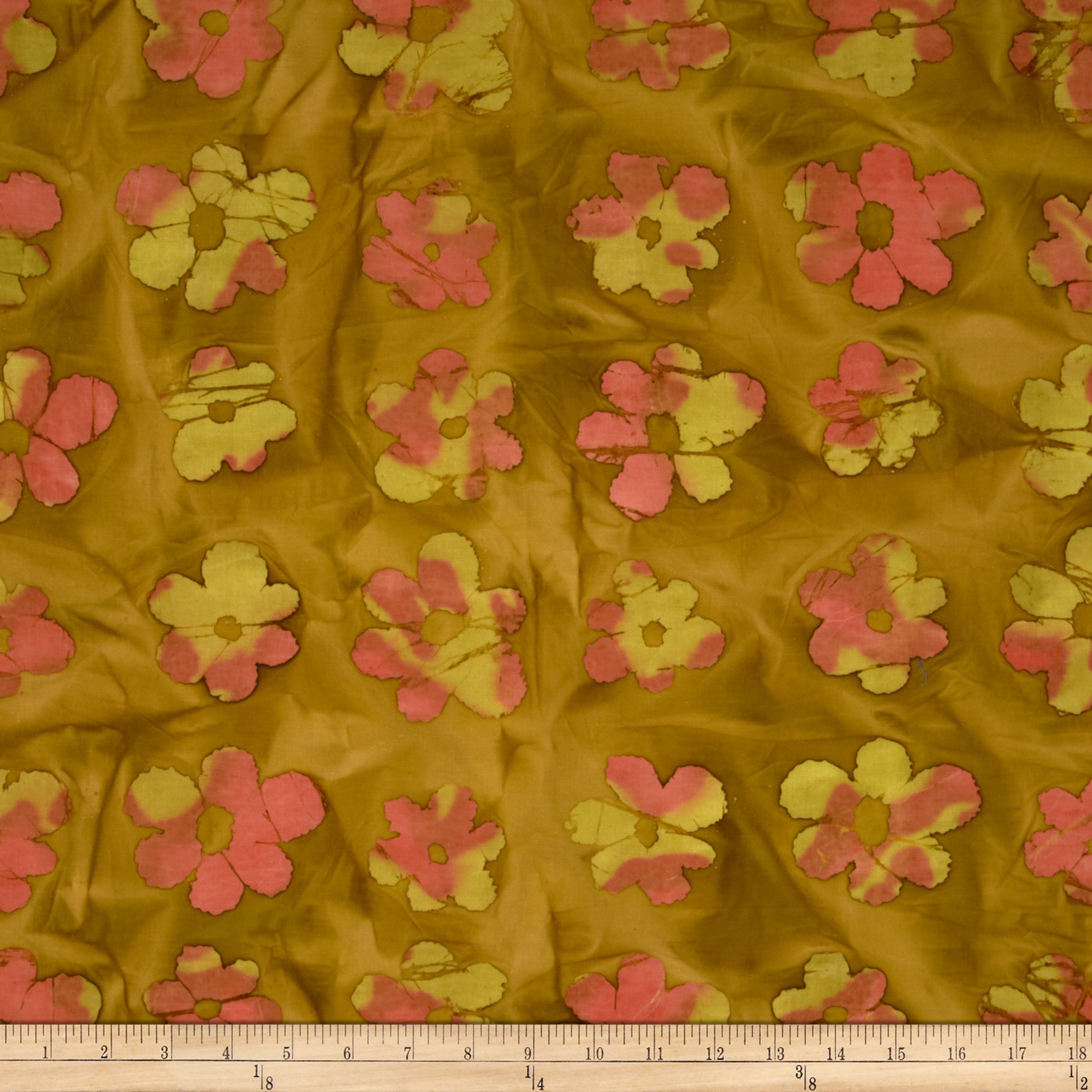 Indian Batik Flowers Brown Fabric
