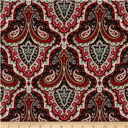 Crimson & Holly Paisley Ivory/Black