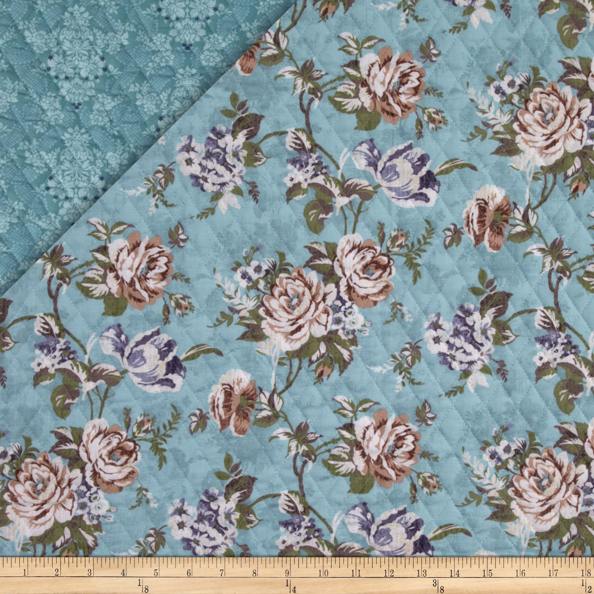 Bedford Place Double Sided Quilted Floral Aqua Fabric
