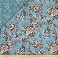 Bedford Place Double Sided Quilted Floral Aqua